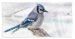 Beach Towel featuring the photograph Blue Jay Snow by Patti Deters