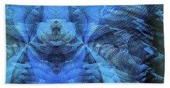 Beach Towel featuring the digital art Blue Kitty by Visual Artist Frank Bonilla