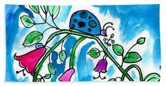 Blue Ladybug Beach Sheet