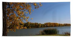 Beach Towel featuring the photograph Blue Lake In Fall by Yumi Johnson