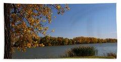 Beach Sheet featuring the photograph Blue Lake In Fall by Yumi Johnson