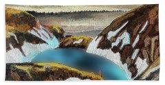 Blue Lake Beach Towel by Vladimir Kholostykh