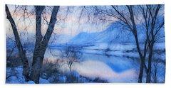 Blue Landscape Beach Towel by Theresa Tahara