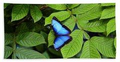 Blue Leaves - Morpho Butterfly Beach Sheet