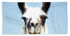 Beach Towel featuring the photograph Blue Llama by Sue Collura