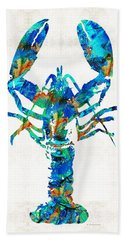 Blue Lobster Art By Sharon Cummings Beach Towel