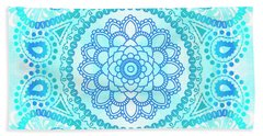 Beach Towel featuring the painting Blue Lotus Mandala by Tammy Wetzel