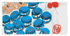 blue Macaroons for golden gal Beach Towel