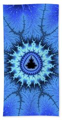 Beach Sheet featuring the digital art Blue Mandelbrot Fractal Relaxing And Balanced by Matthias Hauser