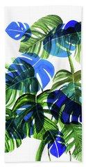 Blue Monstera Beach Sheet by Ana Martinez