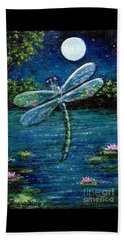 Beach Towel featuring the painting Blue Moon Dragonfly by Sandra Estes