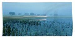 Blue Morning Flash Beach Sheet by Jorge Maia