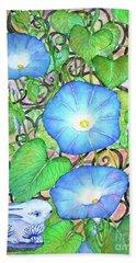 Blue Morning Glories Beach Towel