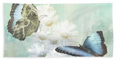 Blue Morpho Butterflies And White Gerbers Beach Towel