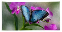 Blue Morpho With Orchids Beach Sheet