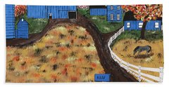 Beach Towel featuring the painting Blue Mountain Farm by Jeffrey Koss