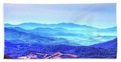Blue Mountain Mist Beach Towel by Dale R Carlson