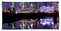 Blue Night And Reflections In Dallas Beach Towel