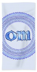 Beach Towel featuring the painting Blue Om Mandala by Tammy Wetzel