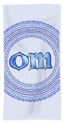Beach Sheet featuring the painting Blue Om Mandala by Tammy Wetzel