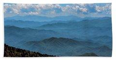 Blue On Blue - Great Smoky Mountains Beach Sheet by Nikolyn McDonald