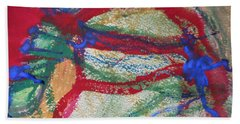 Blue On Red Beach Towel