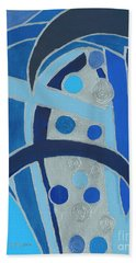 Beach Towel featuring the painting Blue On Silver by Ania M Milo