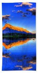 Blue Orange Mountain Beach Sheet by Test Testerton