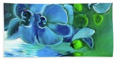 Blue Orchids Beach Towel by Jenny Lee