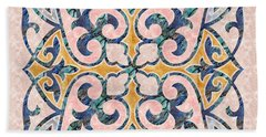 Blue Oriental Tile 01 Beach Towel