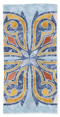 Blue Oriental Tile 04 Beach Sheet