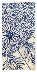 Blue Oriental Vintage Tile 01 Beach Towel