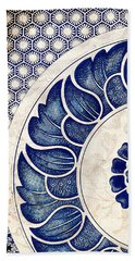 Blue Oriental Vintage Tile 05 Beach Sheet