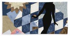 Blue Paper Doll Beach Sheet
