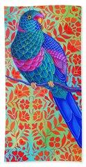 Blue Parrot Beach Towel by Jane Tattersfield