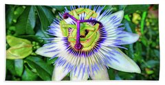 Blue Passion Flower Beach Towel by Sue Melvin