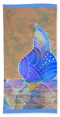 Beach Towel featuring the painting Blue Pear by Nancy Jolley