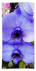 Blue Phalaenopsis Orchid Beach Towel
