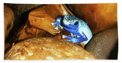 Beach Towel featuring the photograph Blue Poison Dart Frog by Anthony Jones