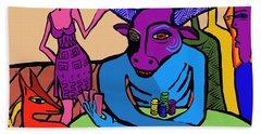 Blue Poker Bull Beach Towel