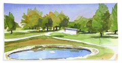 Beach Towel featuring the painting Blue Pond At The A V Country Club by Kip DeVore