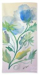 Blue Poppies Beach Sheet by Maria Urso