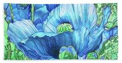 Beach Towel featuring the mixed media Blue Poppy Garden by Carol Cavalaris