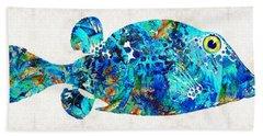 Blue Puffer Fish Art By Sharon Cummings Beach Towel