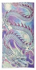 Blue Purple Japanese Dragon Beach Towel