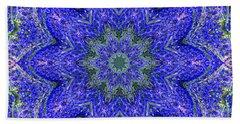 Blue Purple Lavender Floral Kaleidoscope Wall Art Print Beach Sheet by Carol F Austin
