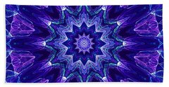 Blue And Purple Mandala Fractal Beach Towel
