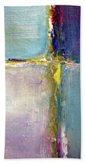Beach Towel featuring the painting Blue Quarters by Nancy Merkle