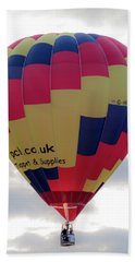 Blue, Red And Yellow Hot Air Balloon Beach Sheet