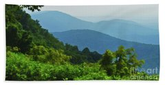 Blue Ridge Mountain Layers Beach Sheet by Kerri Farley